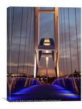 Night View of the Infinity Bridge, Stockton-on-Tee, Canvas Print