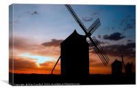 Sunset Windmills, Canvas Print