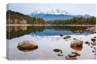 A dramatic view of Mount Shasta from Lake Siskiyou, Canvas Print