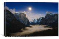 Dramatic moonrise over Yosemite National Park.