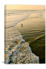 Lone surfer waiting for the perfect wave in Huntin, Canvas Print