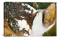 Closer view of Yellowstone Falls from Lookout Poin, Canvas Print