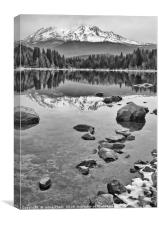 A dramatic view of Mount Shasta from Lake Siskiyou