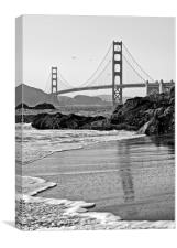 World famous Golden Gate Bridge with a scenic beac, Canvas Print