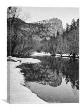 Damatic winter view of Mirror Lake in Yosemite Nat, Canvas Print
