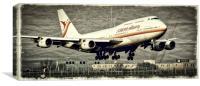 A Surinam Airways Boeing 747 landing at Schiphol a, Canvas Print