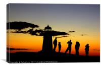 People taking photos at Peggy's Cove Lighthouse, Canvas Print