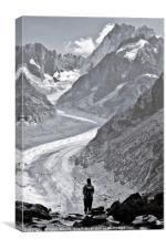 A lone person admiring the Mer de Glace, Chamonix, Canvas Print