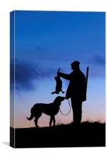 Hunter with Hunting Dog, Canvas Print