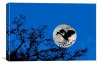 Heron Landing in Tree at Full Moon, Canvas Print