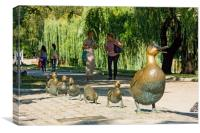 A mother duck and ducklings., Canvas Print