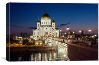 The Cathedral of Christ the Savior at night., Canvas Print