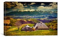 Wooden house and mountains, Canvas Print
