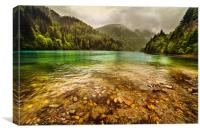 Lake in mountains, in a rainy day, Canvas Print