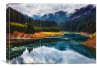 Lake Galbenu in Romania, Canvas Print