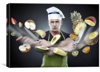 Fast cook slicing vegetables in mid-air, Canvas Print
