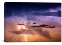 Cloudscape with thunder bolt, Canvas Print