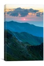 Mountain range at sunset, Canvas Print