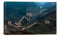 Transfagarasan highway in Romania at night time, Canvas Print