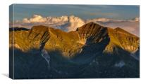 Mountain peaks at sunset, Canvas Print