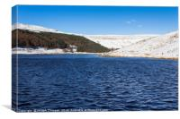 Dove Stone reservoir in winter snow, Canvas Print