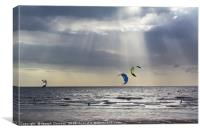 Kiteboarders at Cleveleys, Canvas Print