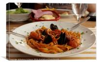 Seafood pasta served, Canvas Print