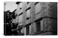 Black and white building with windows and shutters, Canvas Print