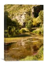Small river among hills in Croatia, Canvas Print