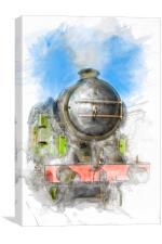 Watercolour Steam Engine, Canvas Print