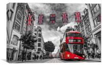 British bus and flags in Oxford Street, London, Canvas Print