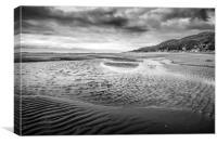 Barmouth Beach in Mono , Canvas Print