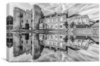 Tonbridge Castle Reflections (black and white), Canvas Print