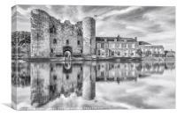 Tonbridge Castle Reflections 2 (black and white), Canvas Print