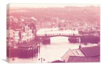 Whitby and River Esk - Retro finish, Canvas Print