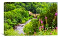 The Green Bridge and River Swale, Canvas Print