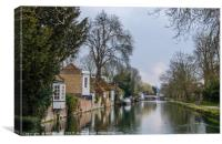 Looking East up the River Lea in Ware., Canvas Print