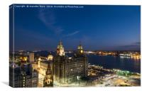 Liverpool liver building and River Mersey at night, Canvas Print