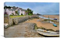 Pink seashore cottage, Bude, Cornwall, Canvas Print