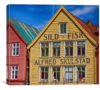 Harbourside building Bergen, Canvas Print