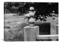 Wooden post on a bridge at Woburn Abbey Gardens, Canvas Print