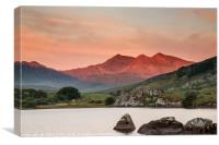 Red sunrise on the Snowdon Horseshoe, Canvas Print