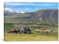 Black wooden house at Arnastapi, Iceland, Canvas Print