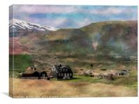 Icelandic house with watercolour treatment, Canvas Print