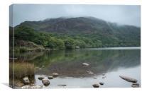 Llyn Dinas on a misty morning, Canvas Print