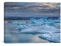 The blue hour at Jokulslaron Ice Lagoon, Canvas Print