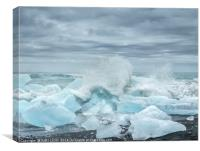 Waves breaking over blocks of ice, Canvas Print