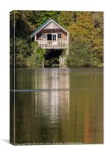 Boathouse reflections, Canvas Print