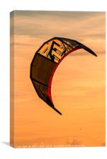 Kite surfing in the sunset, Canvas Print