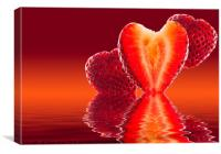 Fresh sliced strawberry in heart shape reflected, Canvas Print